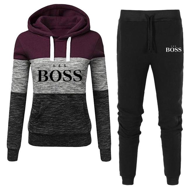 2021 Autumn Winter Hot Brand  Two Pieces Sets Thick Hoodies Tracksuit Women Sportswear Gyms Fitness Training Sweatshirts 3