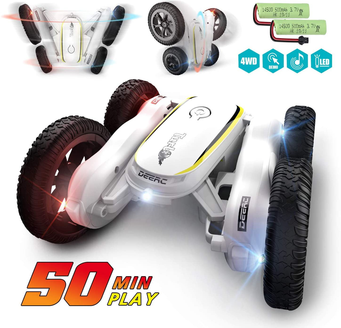 DEERC <font><b>1:10</b></font> <font><b>RC</b></font> Car 4WD <font><b>RC</b></font> <font><b>Drift</b></font> Remote Control Car Crawler 1/10 Stunt Racing Vehicles With 2 Batteries For 50 Mins Playing Time image