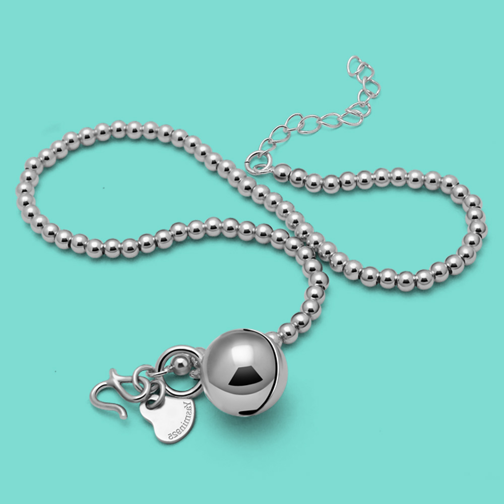 New Summer Charm Accessories Women's 925 Sterling Silver Anklet Beads Bell Design Solid Silver Anklet Foot Jewelry Birthday Gift