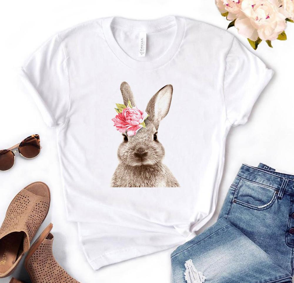 Rabbit Flower Print Women Tshirt Cotton Casual Funny T Shirt Gift For Lady Yong Girl Top Tee PM-84