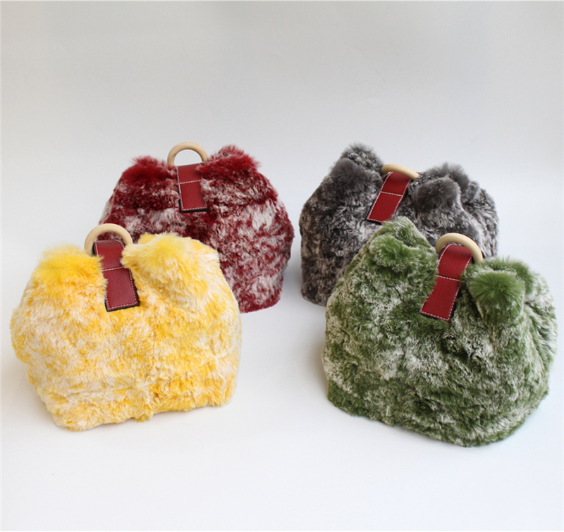 IANLAN New Womens Rex Rabbit Fur Shoulder Bags Casual Real Soft Fur Crossbody Bags Genuine Cowhide Handbags IL00557