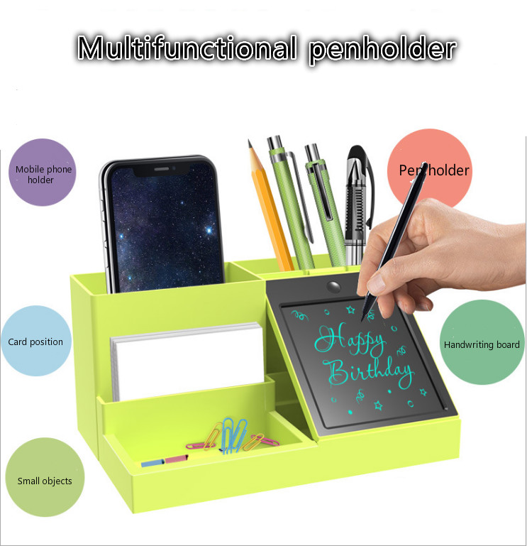 Green Cosmetic Makeups Organizer Pen Holder With LCD Handwriting Board Desktop Accessories Storage Container Gifts Box Case