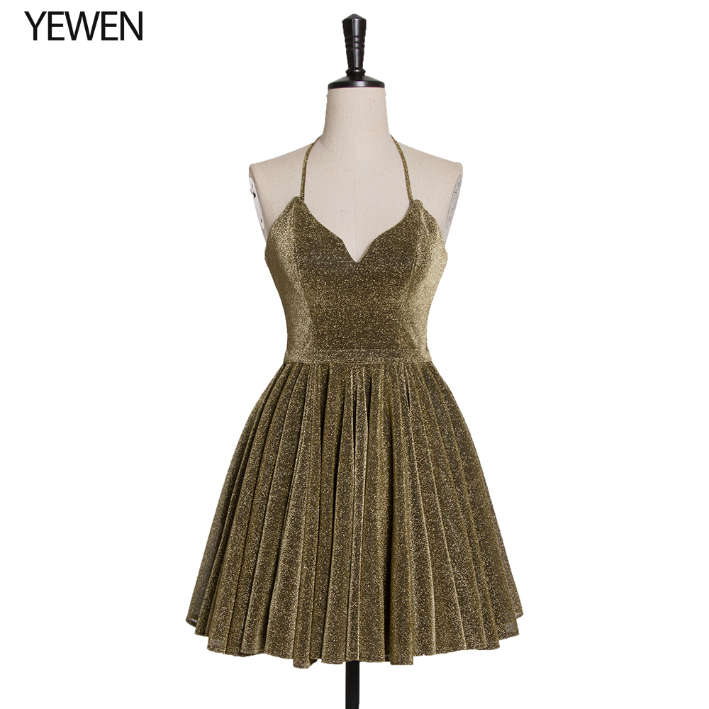 Sparkle Cocktail Dresses LT4100 A-Line Ruched V-Neck Spaghetti Straps Sequined Short Party Dresses Vestido Coctel Army Green