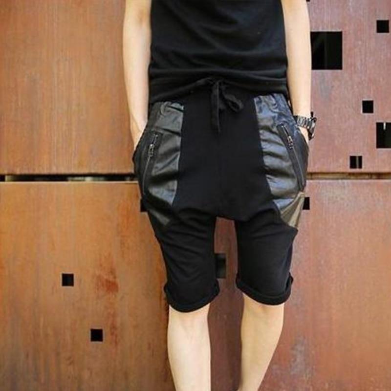 Summer Men's Leather Black Lace-up Harem Pants Men's Big Crotch Pants Korean Tide Men's Large Size 5 Points Pants