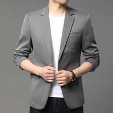 Suit Jacket Costume Coat Blazer Men Long-Sleeve Single-Button Autumn British Youth Mens