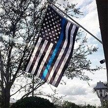 90*150 см белая синяя линия флаги полиции США тонкий Американский Национальный Баннер полоса с принтом звезд с латунными люверсами домашний декор