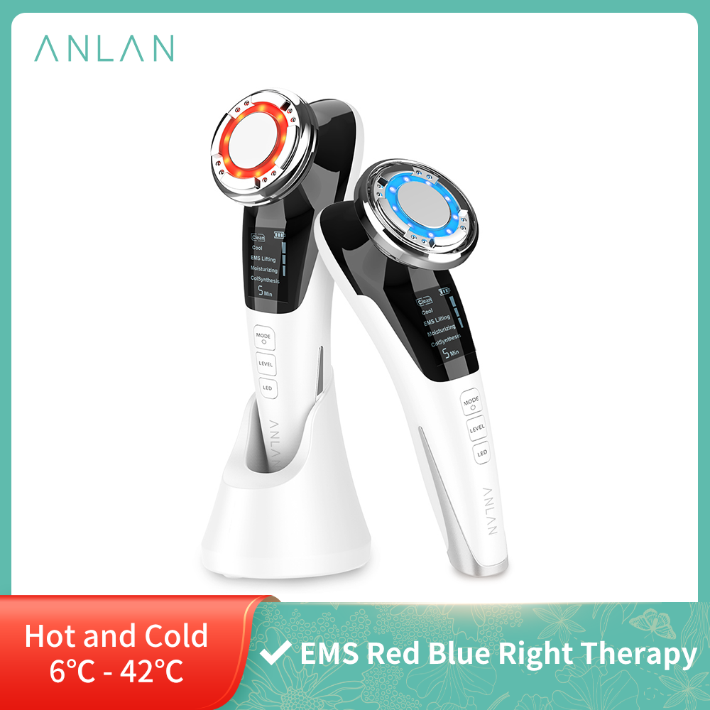 EMS Facial Massager LED light therapy Sonic Vibration Wrinkle Removal Skin Tightening Hot Cool Treatment Skin Care Beauty Device|Ion Device| - AliExpress