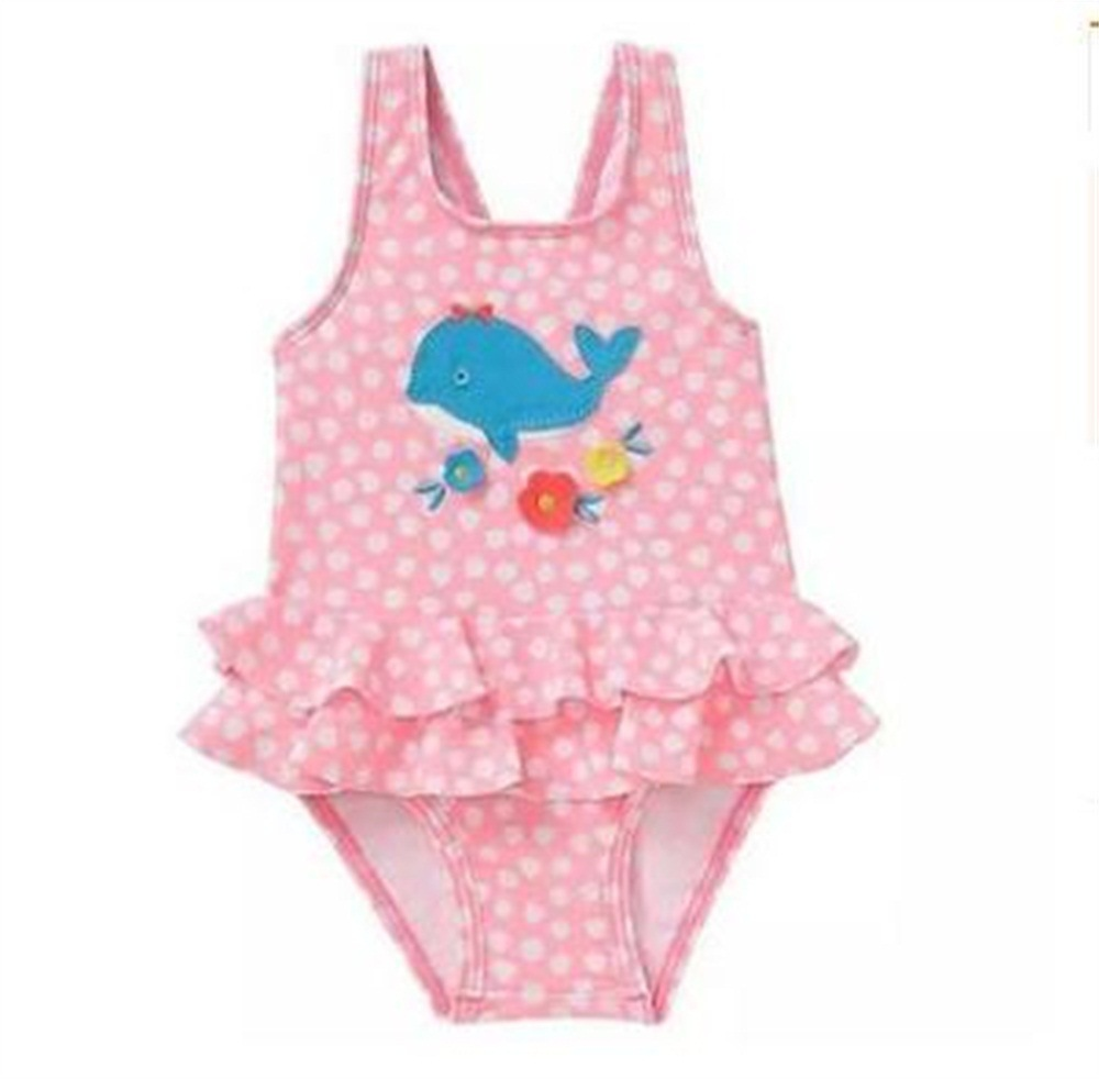 2019 Europe And America New Style Hot Sales One-piece Swimming Suit Dots Small Flower Whale Cute Girls KID'S Swimwear PRD89029