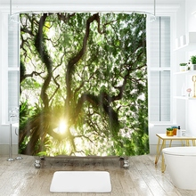 3d Landscape Tree Pattern Green Giant Trees Shower Curtains Waterproof Thickened Bath for Bathroom Customizable