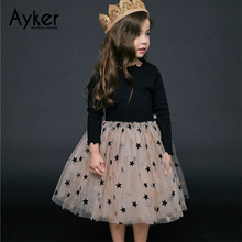 Girls Dresses Autumn Long Sleeve Kids  Party Princess Dress Star Children Clothing Casual Girls Clothes Baby Girl Dresses