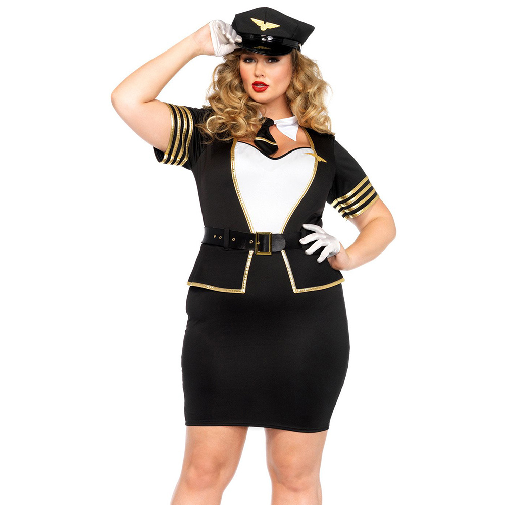 Plus Size 5 PCS Set Sexy Lingerie Policewoman Costume Airline Stewardess Cosplay Costume Sexy Pilot Uniforms Temptation Girls image