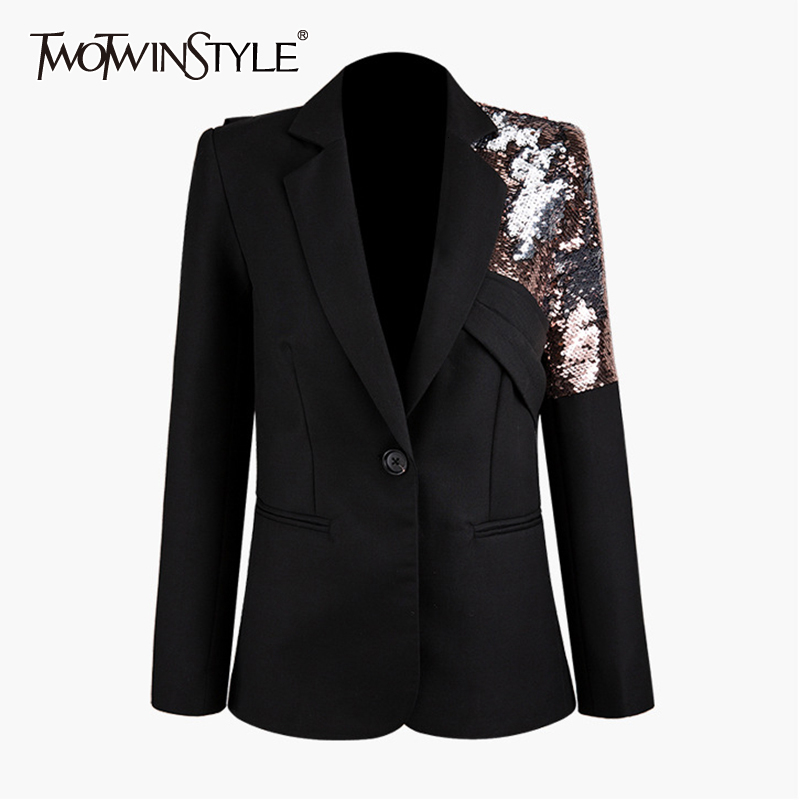 TWOTWINSTYLE Patchwork Sequined Asymmetrical Blazer Women Notched Collar Long Sleeve Hit Color Suits Female Fashion 2019 Clothes