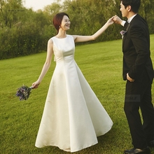 Vestido de cetim para noivas, vestido longo marfim, fotografia, casamento, viagem, leve