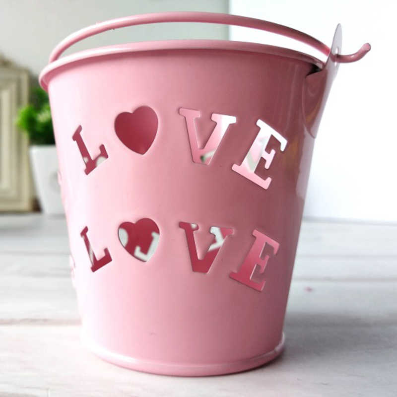 1xMini Tin Metal Pail Bucket Pails Wedding Party Baby Shower Candy Bucket Box