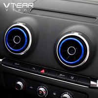 Vtear-cubierta circular de salida de aire para Audi A3, 8V, S3, Q2, consola central, marco de CA, accesorios interiores, molduras, estilismo para coche, 2013