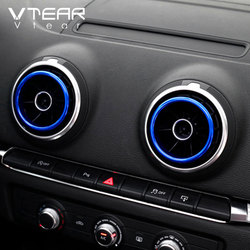 Vtear for Audi A3 8V S3 Q2 air outlet circle cover central console AC frame interior accessories mouldings car-styling 2013