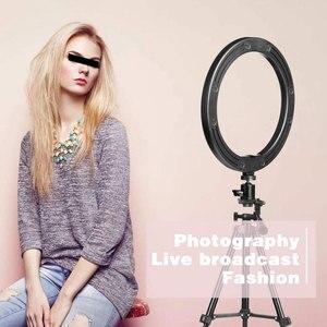 Image 2 - 사진 LED 링 램프 Dimmable Selfie 링 라이트 삼각대 전화 홀더 유튜브 비디오 촬영 라이브 메이크업 웨딩