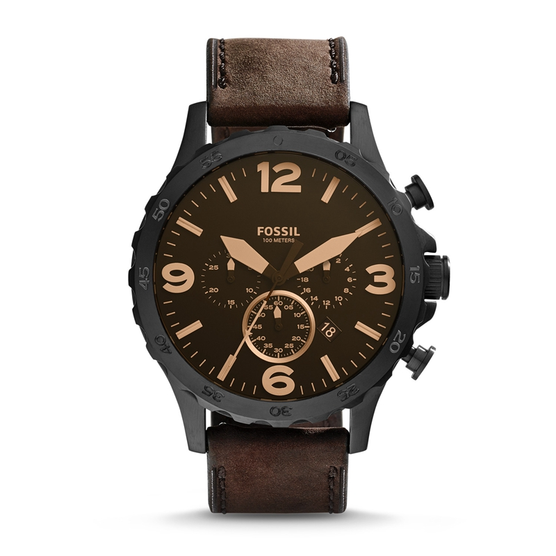Fossil Men's Nate Quartz Stainless Steel With Brown Leather Strap Brand Luxury Casual Watch For Men JR1487