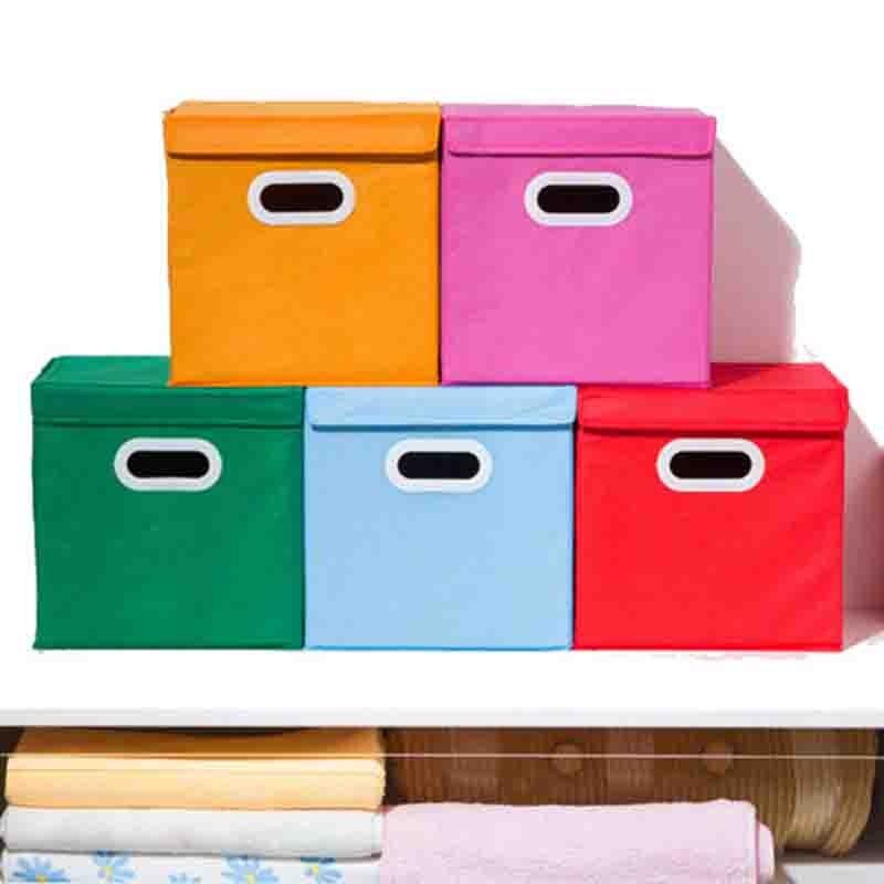 Nouveau pliage vêtements boîte de rangement pliable sous-vêtements chaussettes soutien-gorge stockage conteneur coton liene chemises boîte de rangement 28 × 28 × 28cm