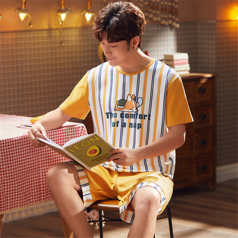 Thin Men's Short-sleeved Shorts Pajamas Striped Cartoon Dog Cotton Pajamas 2020 Spring And Summer Home Service Suit