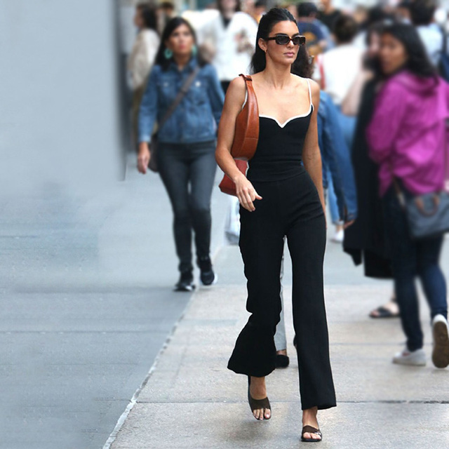 Kendall Jenner Style Women 2 Piece Set Sexy V-neck Camisole Tank Tops With Black Slim Elastic Bell-bottom Trousers Long Pants 2