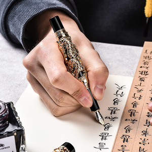 Jinhao Dragon and Phoenix перьевая ручка, двойной, играющий дракон, жемчуг, старинная серая металлическая резьба, тиснение, тяжелая коллекция ручек