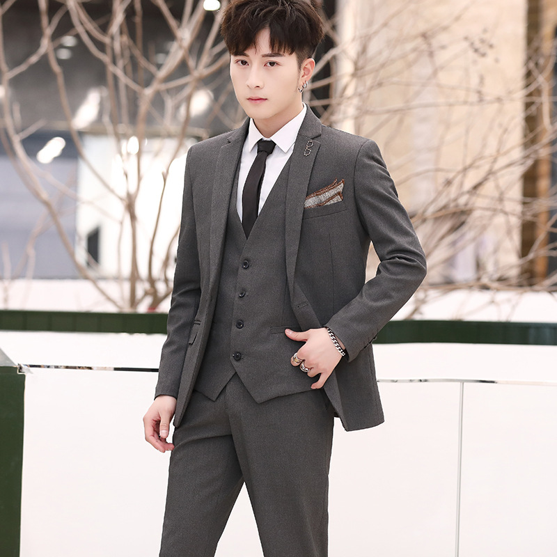 2019 Men To Pure Color Suit Youth To Cultivate One's Morality Dress Suit The Groom Wedding Dress Three British Professional Suit