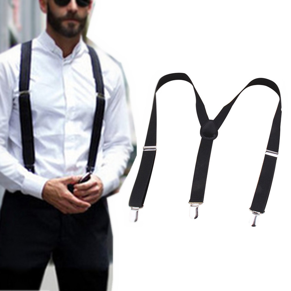 Suspenders for Men 35MM Genuine Leather Adjustable Y Shape Solid Suspenders 3.5 cm Width