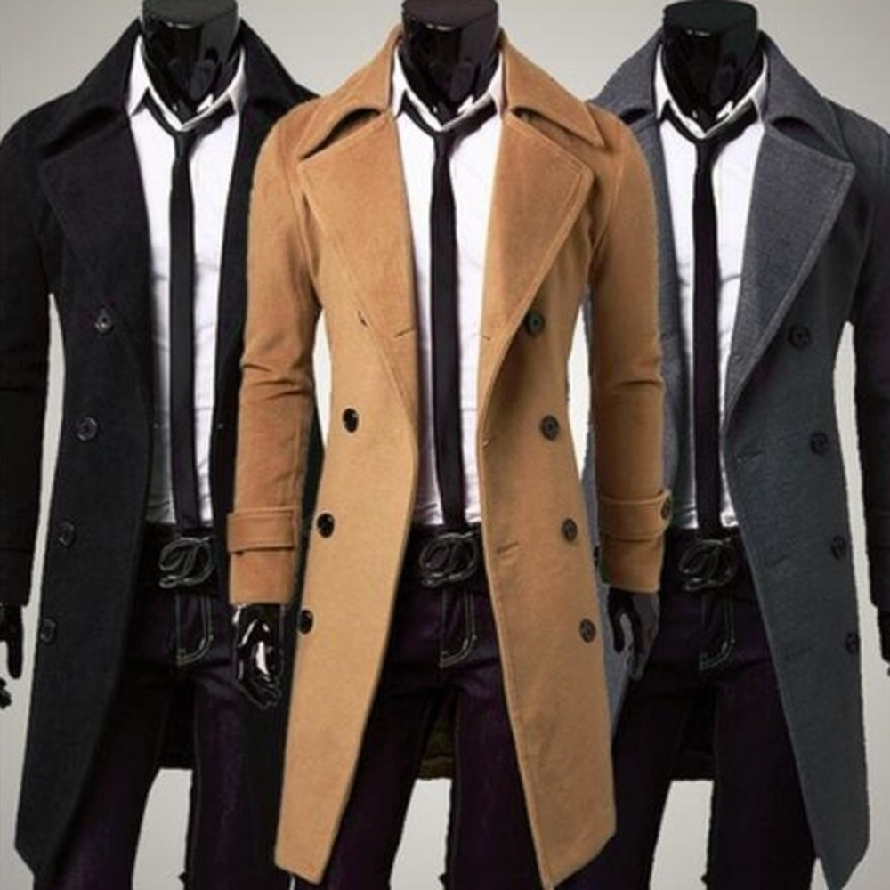 Vogue Men Coat Winter Casual Long Trench Coats Double Line Buttons Simple Design Mens Wool Overcoat Slim Fit Coats And Jacket