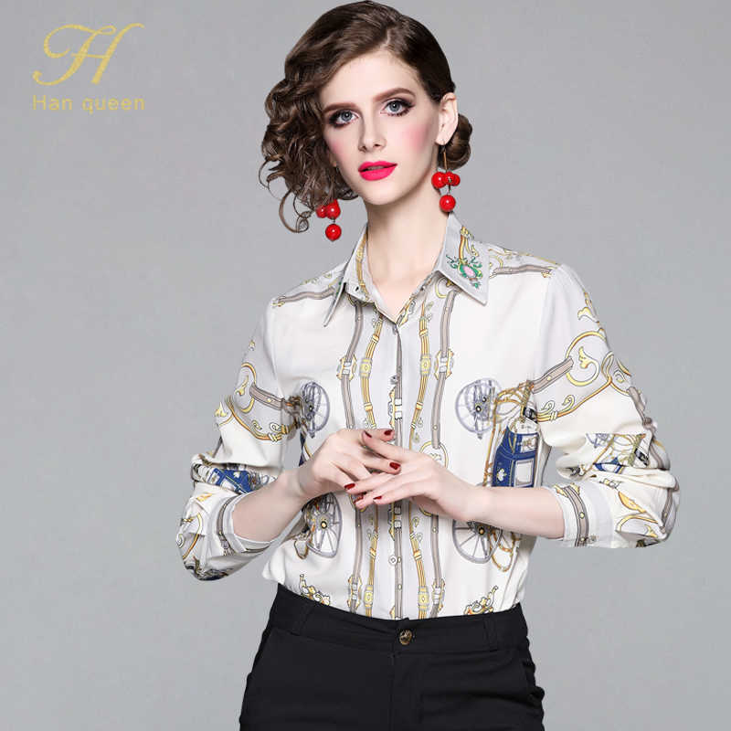 H Han Queen Chiffon Blouse 2019 Long Sleeve Women Blouses and Top Single-breasted Print Office Shirt Casual Blusas Chemise Femme