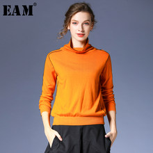 [EAM] Orange Brief Warm Knitting Turtleneck Sweater Loose Fit Long Sleeve Women New Fashion Tide Autumn Winter 2019 1D258(China)