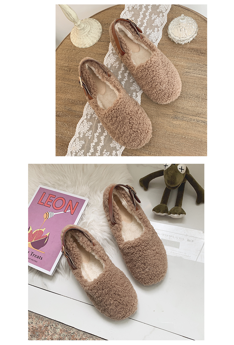 SLHJC Round Toe Loafers Flat Heel Slip On Women Autumn Flats Shoes Curly Fur Warm Female Drive Shoes 33
