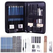 40pcs Professional Art Pencil Set Graphite Sketch Pencils Set Complete Drawing Kit Include Charcoals Pastel Zippered Carry Case