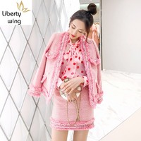 Brand Luxury Womens Pink Set Tweed Fashion Tassel Jacket Mini Skirt 2 Pieces Sets Autumn Elegant Slim Party Clothes Female
