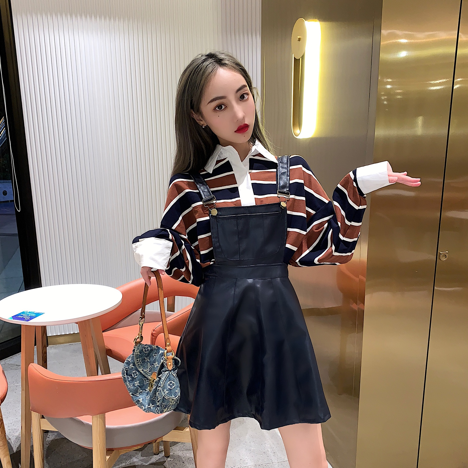 Photo Shoot 2019 Most New Style Laziness Stripes Long-sleeved Upper Garment + High-waisted Puffy Suspender Strap Leather Skirt S