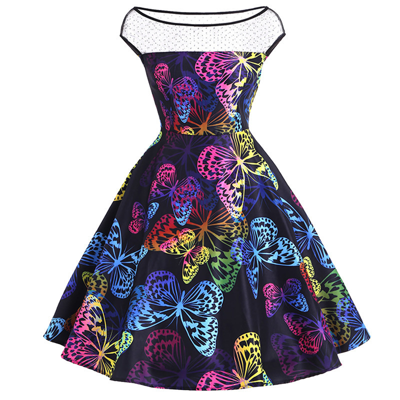BacklakeGirls 2020 New Butterfly Pattern Print Sexy Scoop Neck Cap Sleeves Cocktail Dresses For Cocktail Party Short Women Dress