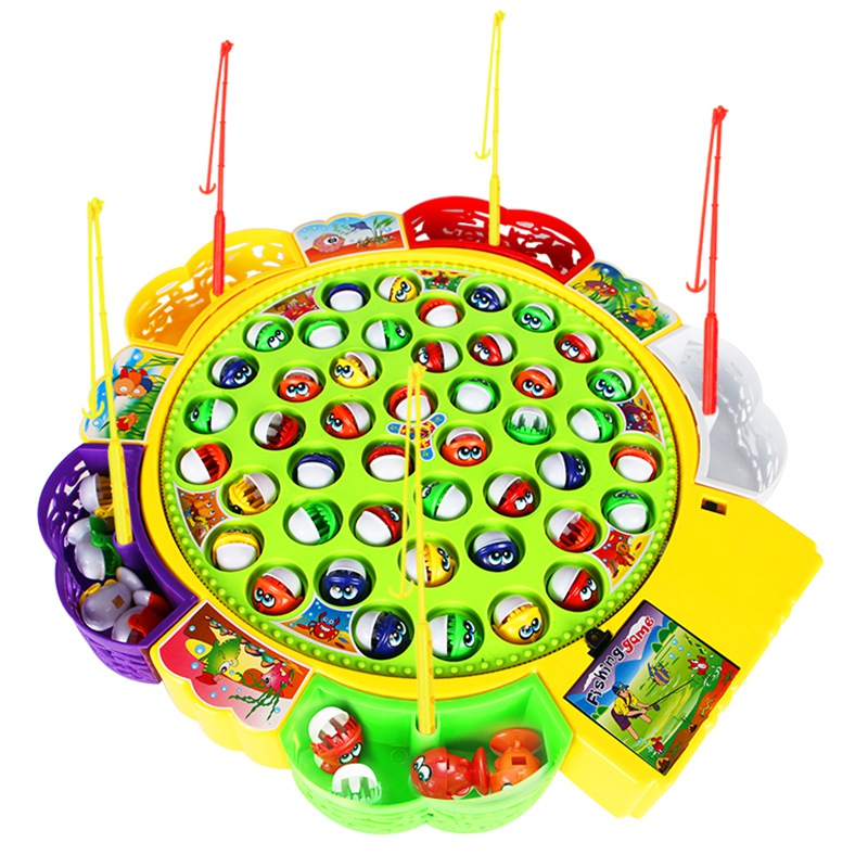 Children's Kids Fishing Board Toy Game Fish Electric Magnetic Educational Rotating