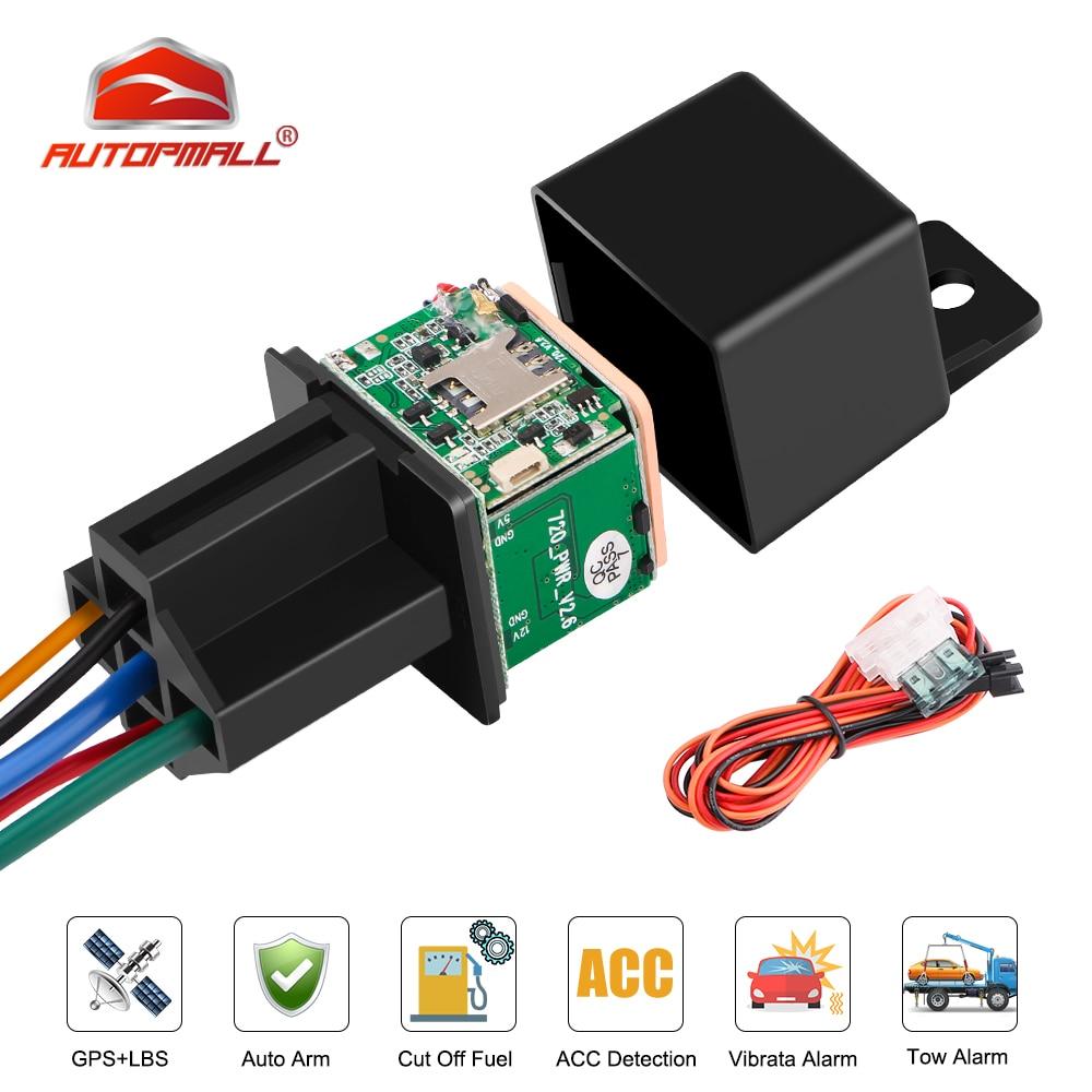 Relay GPS Tracker Car Tracker MV730 9-90V Cut Off Fuel ACC Detection Tow Alarm Car GPS Tracker Motorcycle Vibrate Alert FREE APP