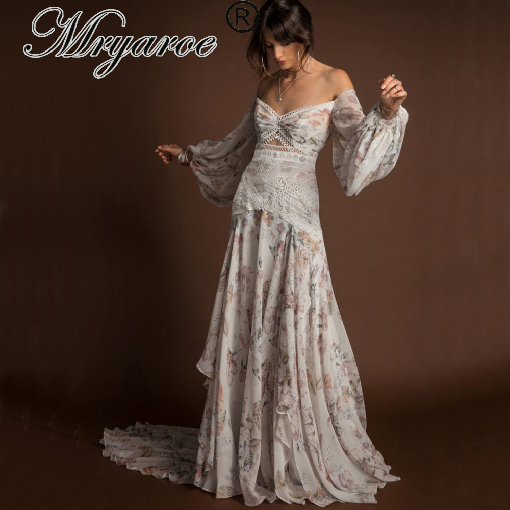 Mryarce 2019 Unique Floral Chiffon Flowly Boho Chic Wedding Dress Off The Shoulder Open Leg Bohemian Bridal Gown