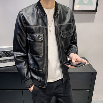 2020 Spring Men Leather Jackets and Coats Casual Slim Stand Collar PU  Motorcycle Leather Jacket Big Pocket Male Clothing