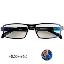 Чистый титан синий светильник блокировка очки для чтения мужчин 0 ~ + 6,0