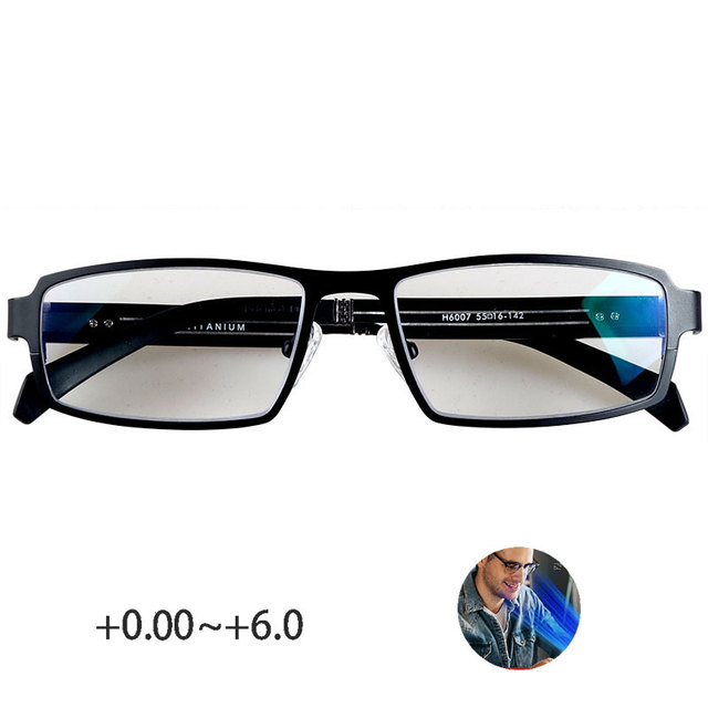 Pure titanium blue light blocking reading glasses men 0~+6.0