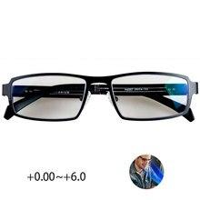 טהור titanium כחול אור חסימת קריאת משקפיים גברים 0 ~ + 6.0