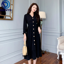Plus Size Fashion V-neck Midi Dress Women Autumn Bohemian Casual Loose Black Dress Elegant High Waist Holiday Club Party Dresses rolled hem drawstring plaid pants