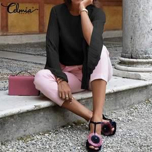 Image 2 - Celmia 2020 スタイリッシュなロングフレアスリーブレースブラウス女性プリーツシフォン blusas カジュアル固体エレガントなシャツプラスサイズ