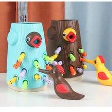 Picchio pesca cattura magnetica verme alimentazione animale gioco da tavolo famiglia montessori impilamento giocattoli educativi regalo per bambini