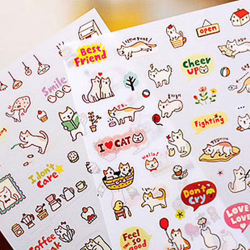 New 2020 Creative Cute PVC Cat  Sticker For DIY Scrapbooking Diary Phone Sticker Products Design Paster Kawaii Stationary