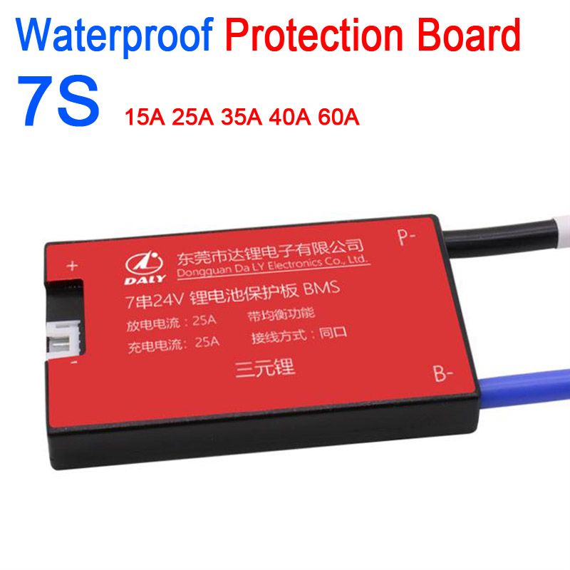 DYKB Waterproof 7S 24V W/ Balance 15A 20A 30A 40A 50A 60A Lithium Battery Protection Board BMS Electric Charge Lipo 3.7V 7 Cells