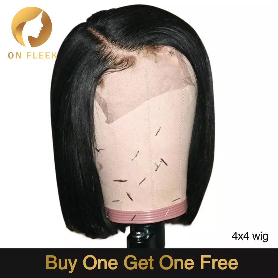 Short Lace Front Human Hair Wigs Bob Wig 4x4 Lace Closure Wigs For Black Women Natural Color Brazilian Remy Hair 130 Density