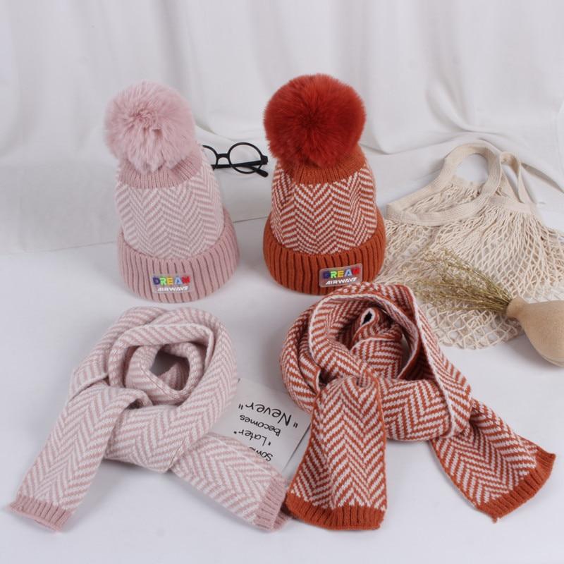 Korean Version Tide Twill Children Hat Scarf Set Autumn Winter New Plus Velvet Thicken Warm Boys Girls Hat